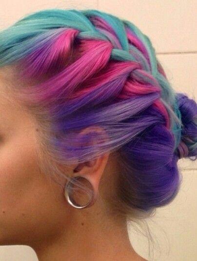Blue pink purple braided dyed hair @manicpanicnyc