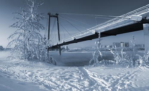 Bridge to Tatyshev island (winter), Krasnoyarsk, Siberia, Russia