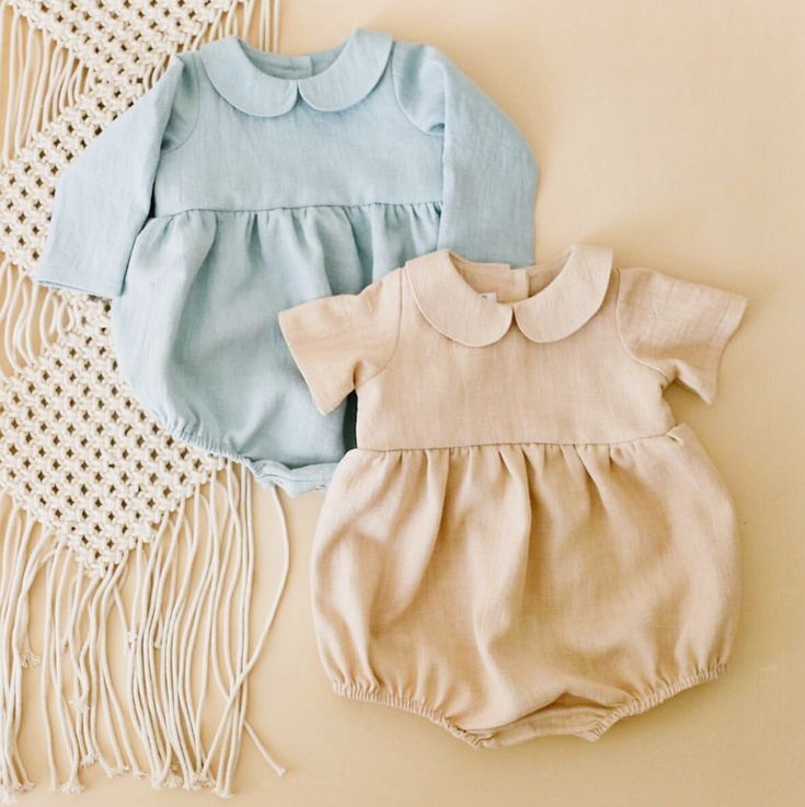 61259a4d05a8 Handmade Linen Baby Rompers With Peter Pan Collar ...