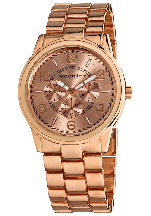 Price:$22.00 #watches Vernier VNR205, Vernier Ladies classic rose tone bracelet watch with a chrono look dial is the perfect piece for any outfit. The boyfriend sized time piece is ready to wear for your casual every day, and is a clean style for evening fun. Features include luminescent hands which show you the time at night, easy to read dial with a Chrono-Look pattern, and Quartz movement.
