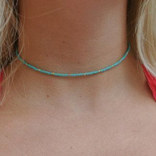 simple blue turquoise gold beaded choker necklace