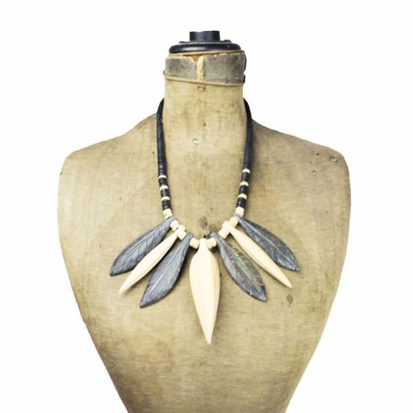 Chunky Wood Leaf Bib Necklace