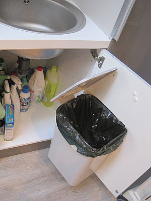 The trash can was located under the sink on the back of the kitchen cabinet door, with a string connecting the lid to the side of the cabinet.When the door was opened wide, the string would pull the lid open! I had never seen anything like this (do I live under a rock?). Simple but ingenius! Have you seen anything similar?