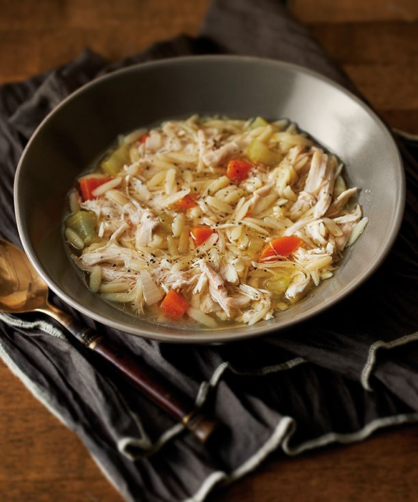 Chicken Orzo Soup using the NEW Microwave Pressure Cooker. Prep and cook in 50 minutes.