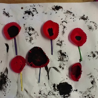For ANZAC day the Owls used black paint, match sticks and red patty cases to make their own poppies, it was a great way to talk about the ANZACS and explore this through craft