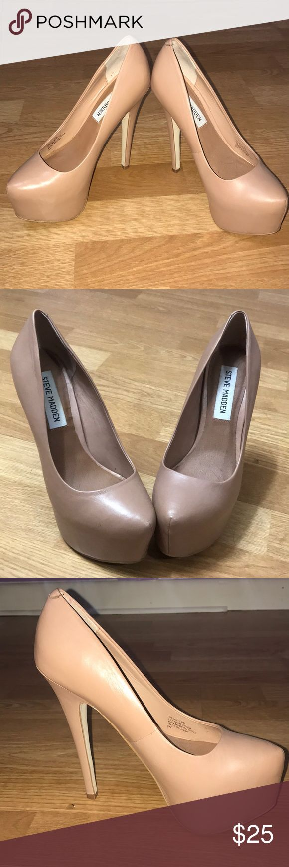 Nude high heels, chunky toe Worn only a few times. No scuffs, minimal scratches, very high heel, round toe Steve Madden Shoes Heels