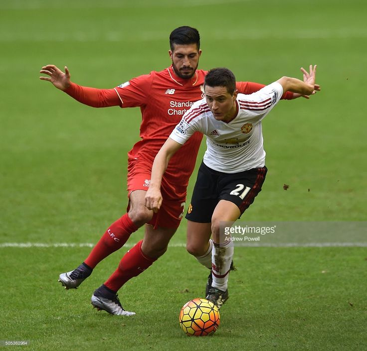 Emre Can of Liverpool competes with Ander Herrera of Manchester United during the Barclays Premier League match between Liverpool and Manchester United at Anfield on January 17, 2016 in Liverpool, England.
