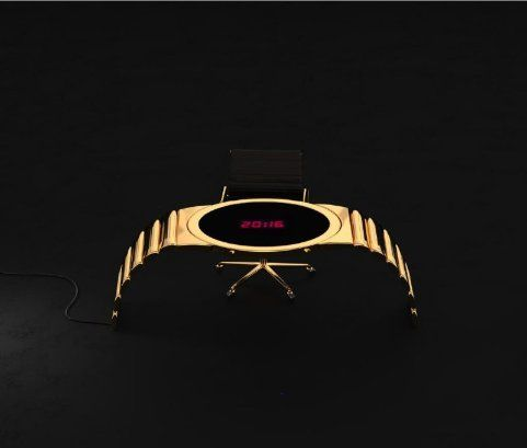 Digital watch table finished in 1 micron gold plating.