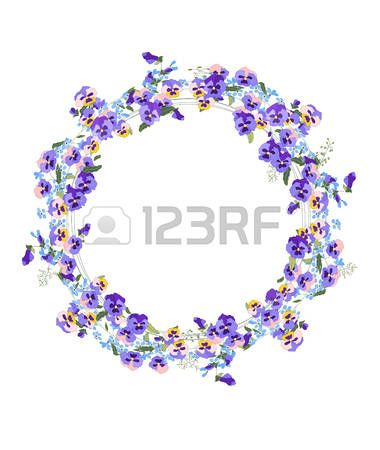 Detailed contour wreath with forget me nots and viola flowers isolated on white  Stock Vector