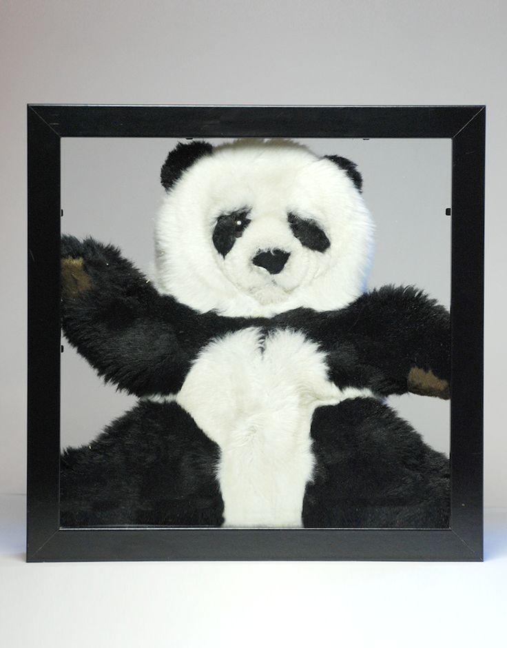 Panda 25x25cm - design - kinderkamer - wanddecoratie - ingelijst - dier -knuffel