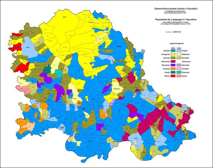 Etnical map of South Hungary (Today Vojvodina) -- 1910.