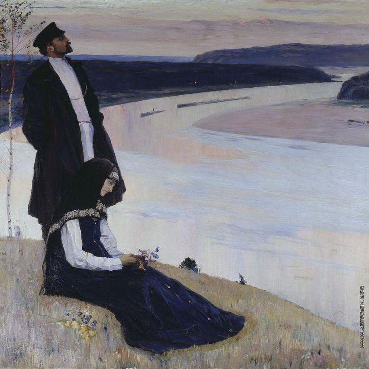 Mikhail Nesterov [1862 - 1942] La Volga Нестеров Михаил Васильевич [1862 - 1942] За Волгой. 1905.