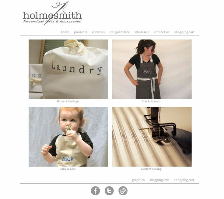 Holmesmith Handmades - Personalized and Handmade Gifts and Accessories. This website was designed from scratch, using good old HTML, CSS, PHP and JavaScript. The front end was recently redesigned with a nice, clean look, and the product pages now have multiple photos and a great little zoom feature. www.holmesmith.com