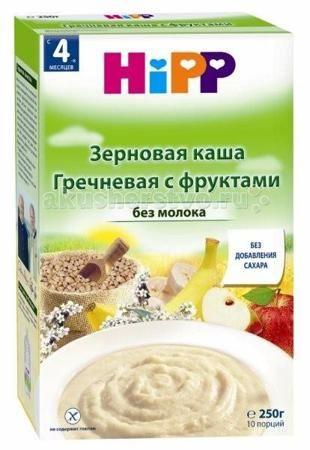 Hipp Безмолочная гречневая каша с фруктами с 4 мес. 250 г  — 190р.   Гречневая каша с фруктами с 4 мес. 250 г богатая железом является полезным сбалансированным питанием. Гречневая каша содержит большое количество белка, минеральных веществ, витаминов В1, В2, РР и пищевых волокон. Гречка - по-настоящему экологически чистое растение. Все дело в том, что для ее выращивания не требуется химикатов, она не боится сорняков и до сих пор не подвергалась генному модифицированию. В гречневой крупе…