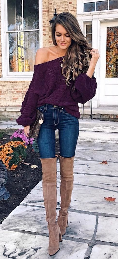 #winter #outfits women's purple off-shoulder long sleeve top. Click To Shop This Look.