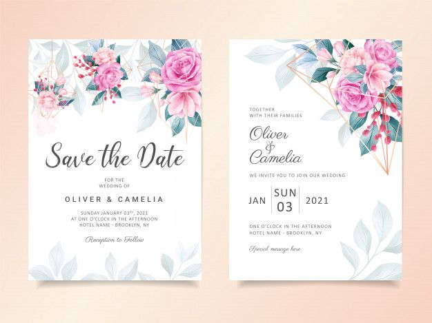 Geometric Watercolor Floral Wedding Invitation Card Template Floral Wedding Invitations Wedding Invitation Cards Floral Wedding Invitation Card