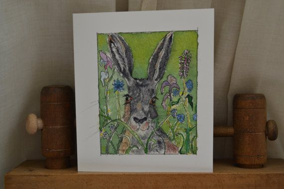 Green Hare in Flower Meadow from an original by sarahNetLtd