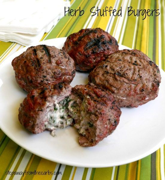 Herb Stuffed Burgers - super low carb and super tasty!