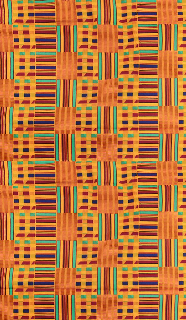 African Kente Print Fabric in orange, red, green, and black.  Beautiful African Kente cloth with bold geometric patterns and stripes.  Perfect cotton fabric for home decor like throw pillows, napkins, table cloths, and gifts.  #fabric #print #pattern #geometric #kente #africa #african #africanfashion #africanfabric #sewing #sew