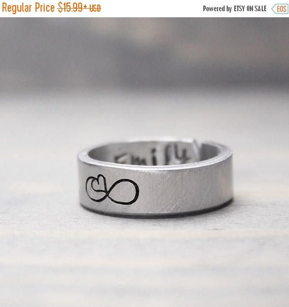 Custom Infinity Ring, Long Distance Relationship Ring, Personalized Ring, Personalized Gift Idea, Handstamped Jewelry