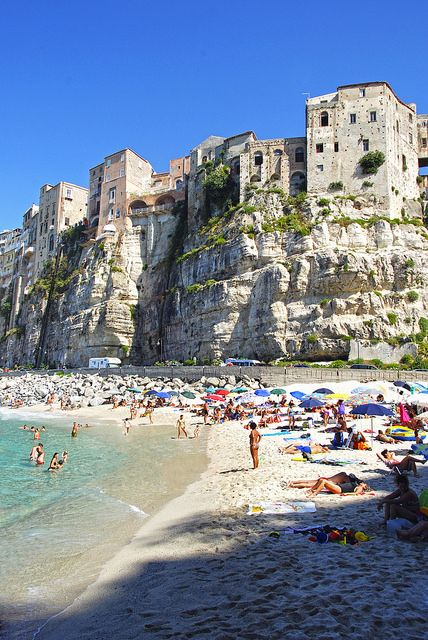 Tropea ~ Calabria, Italy , wow so beautiful and relaxing , I would love to lay there on the beach and get a wonderful tan .