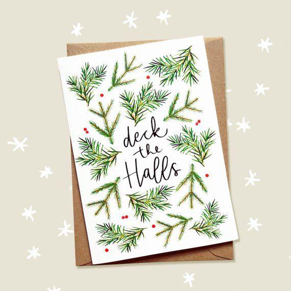 Deck The Halls Christmas Card Christmas Carol Card Etsy Painted Christmas Cards Calligraphy Christmas Cards Watercolor Christmas Cards