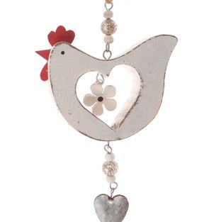 Hen & Heart Hanging Decoration-Painted