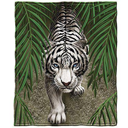 beautiful white tiger blanket