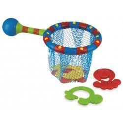 Retina Splash 'n Catch  Con la rete  Splash 'n catch il tuo bimbo si divertira' a catturare le quattro formine nella rete. Le quattro formine si agganciano tra di loro e la retina è dotata di presa ergonomica.  Questo gioco bagno aiuta la coordinazione mano-occhio BPA free