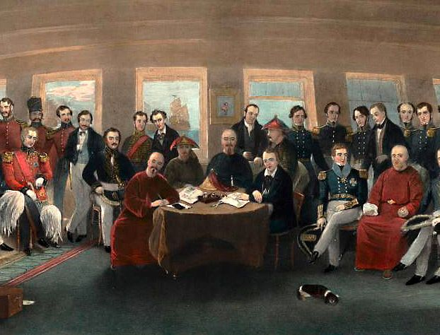 """""""The Signing and Sealing of the Treaty of Nanking in the State Cabin of H.M.S. Cornwallis, 29th August, 1842"""" (detail), Painted by Capt. John Platt. #Treaty_of_Nanking"""