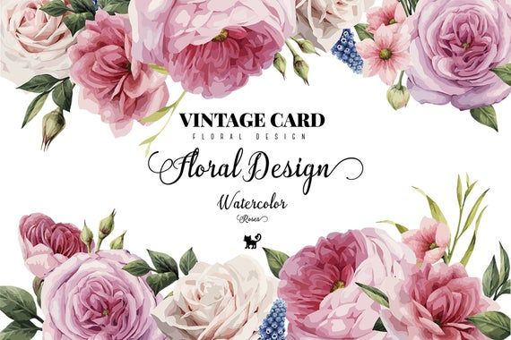Watercolor Vintage Floral Design Clip Art Raphic Elements Etsy In 2020 Rose Clipart Watercolor Rose Floral Cards Design