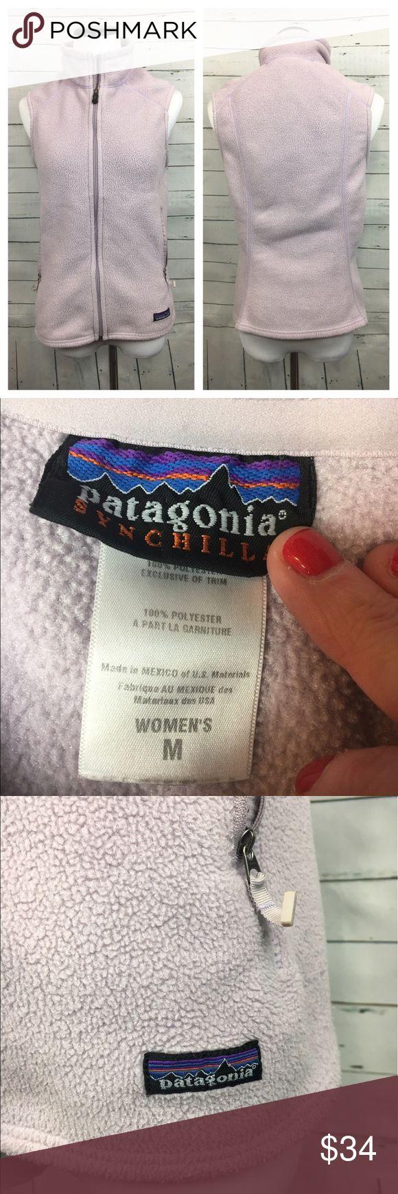 "Patagonia synchilla lilac purple fleece vest Women's Patagonia synchilla purple lavender zip front fleece vest. size m  armpit to armpit-18"" overall length-25"" Patagonia Jackets & Coats Vests"