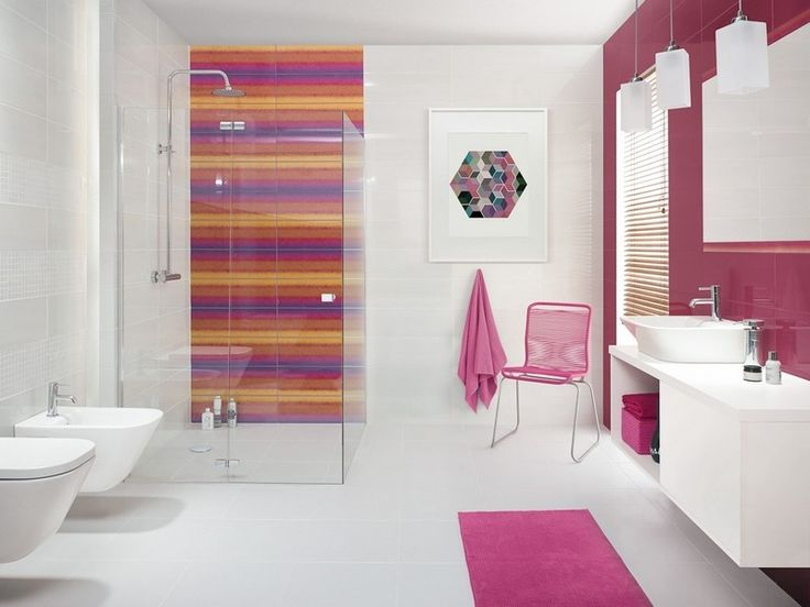 salle de bain moderne en blanc et rose carrelage mural blancrose tapis - Tapis De Salle De Bain Rose