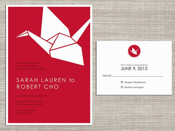 Kyoto  Origami Crane Wedding Invitation and by CaitididDesigns, $42.00