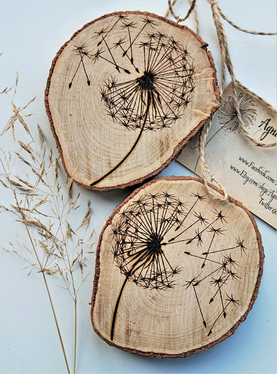 Make a wish, dandelion wood slice, dandelion art work, personalised branch slice, wooden slice pyrography, wood burning art, wood burning