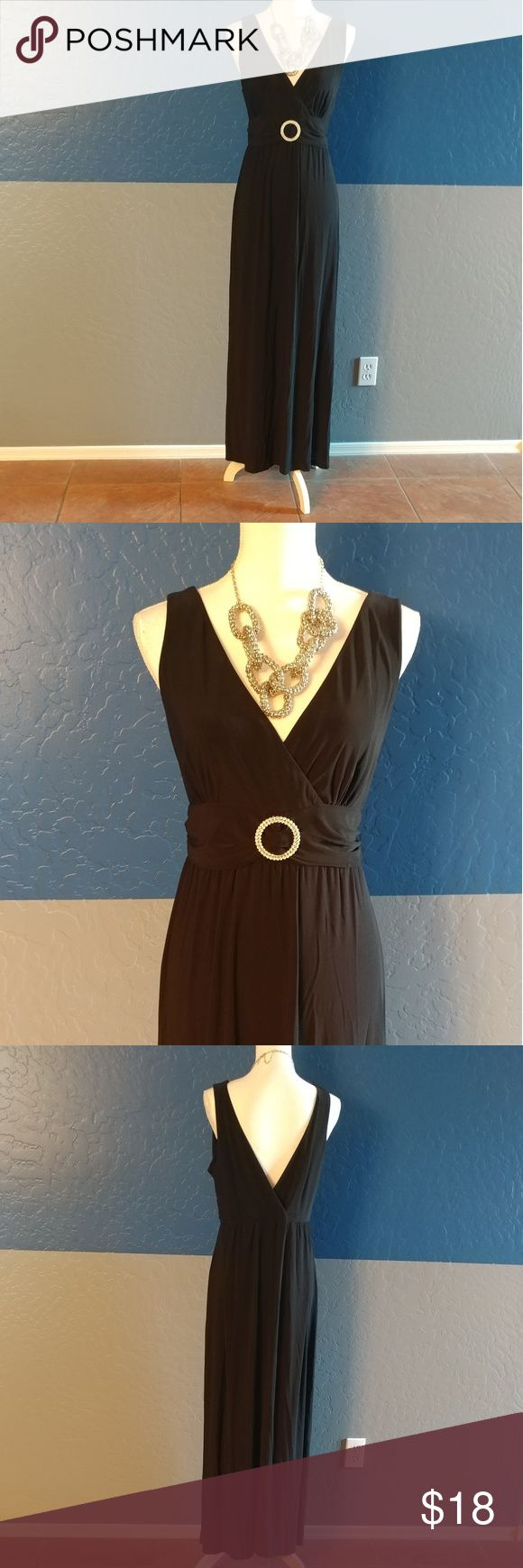 "🆕Olivia Matthews Maxi Dress Beautiful Black w/Silver Buckle Dress  Sleeveless 36"" Bust 55"" Length  Polyester Spandex  Bundle and Save Olivia Matthews Dresses Maxi"
