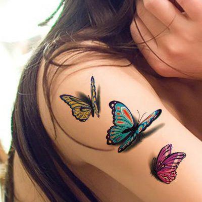 Waterproof etiqueta do tatuagem temporária tatuagem de borboleta 3D cor flash moda tatuagem braço ombro pescoço pequeno falso tatuagem QS057