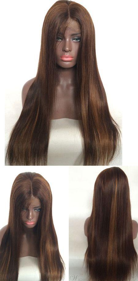 Long Dark Brown Straight Human Hair Lace Front Wig  1da23dca331f