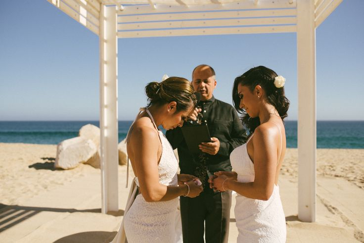 Me Creative Photography | sarah + francine | a beautiful wedding at Sandos Finisterra Los Cabos | two brides | both wearign white dresses