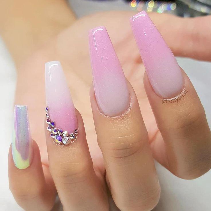 unicorn chrome nails decor fake