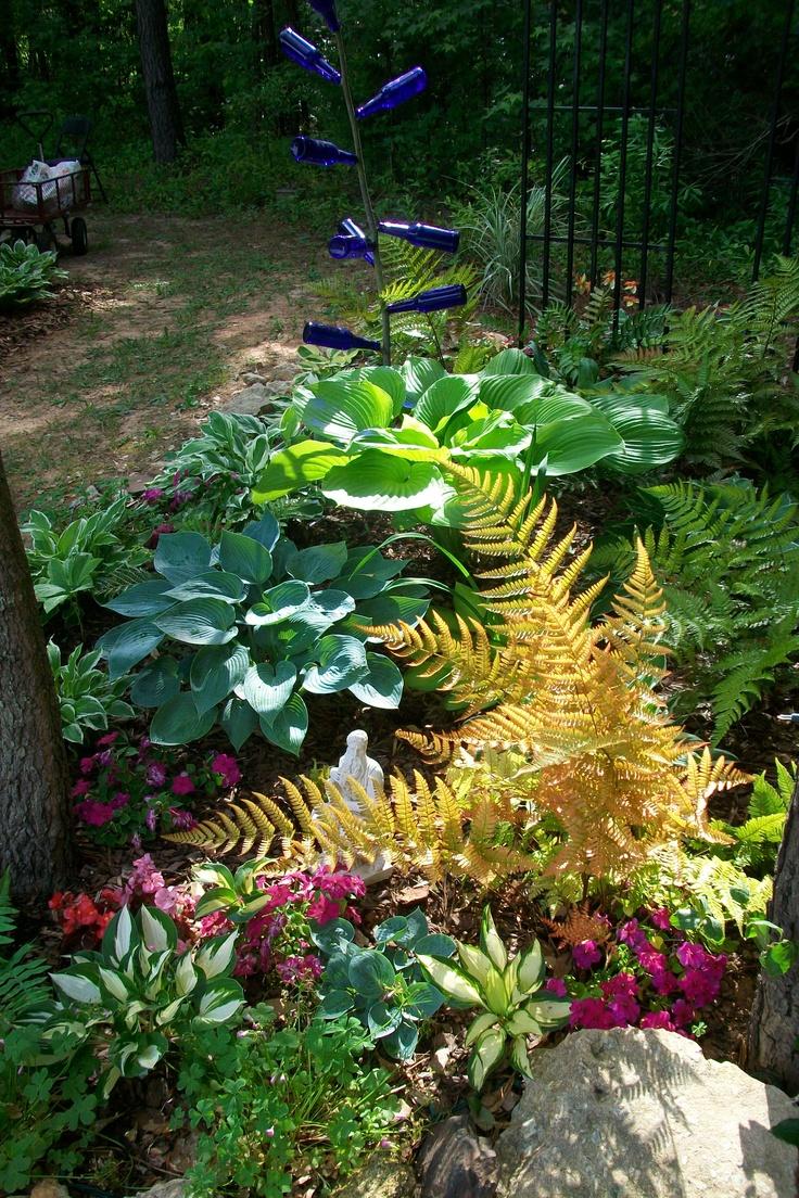 hostas autumn ferns impatiens lenton roses make a wonderful shade garden
