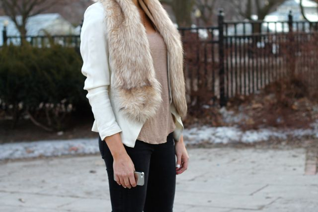 a look at the details of spring neutrals post. Blazer: topshop, t-shirt: zara, jeans: j brand fur: h&m