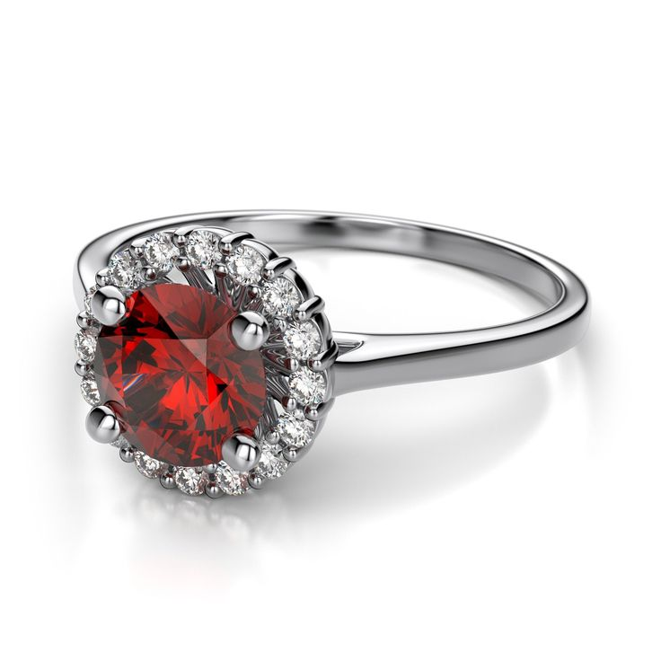 Angara Metal Frills Ruby and Diamond Vintage Inspired Ring in 14k White Gold Uc7Z2TJA7