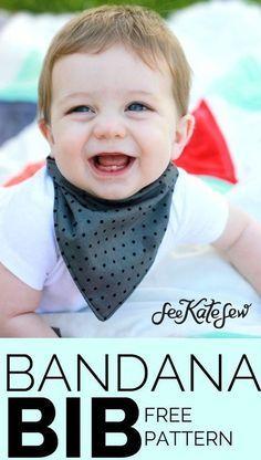 FREE bandana bib pattern! | bandana bib tutorial | how to make a bandana bib | d…