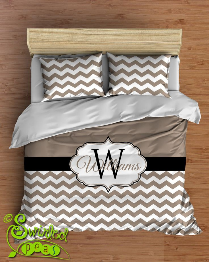 Custom Chevron Bedding in Comforter or Duvet features YOUR CHOICE of colors and Personalized Name and Monogram!