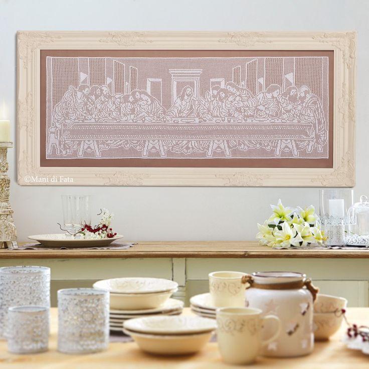 kit cotone per fare il quadro ad uncinetto filet ultima cena