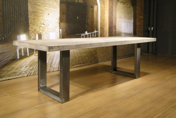 Industriele tafel Montreuil - Robuuste tafels - Unieke robuuste kloostertafels direct uit voorraad of geheel op maat gemaakt. Uw boomstamtaf...
