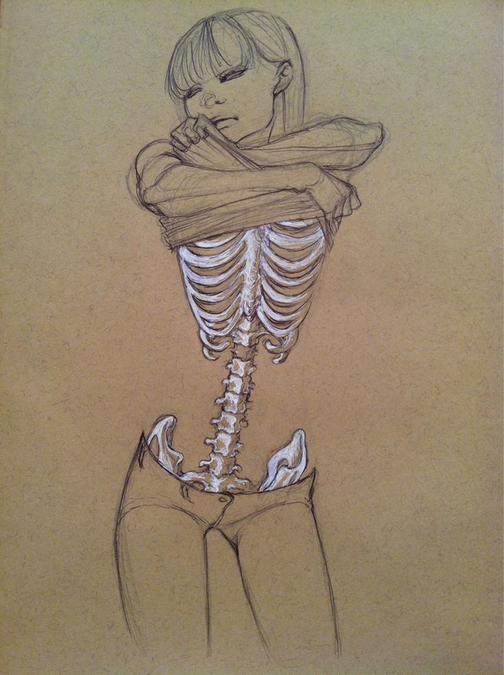 Skin and bones sketch - love how the white charcoal is used to bring the focus to the vertebrae and ribs..