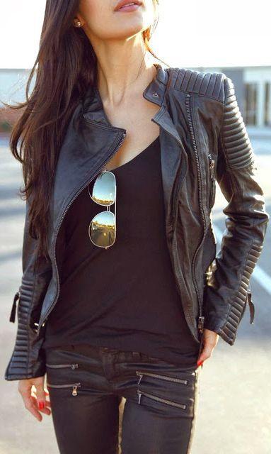 leather + pants + jacket