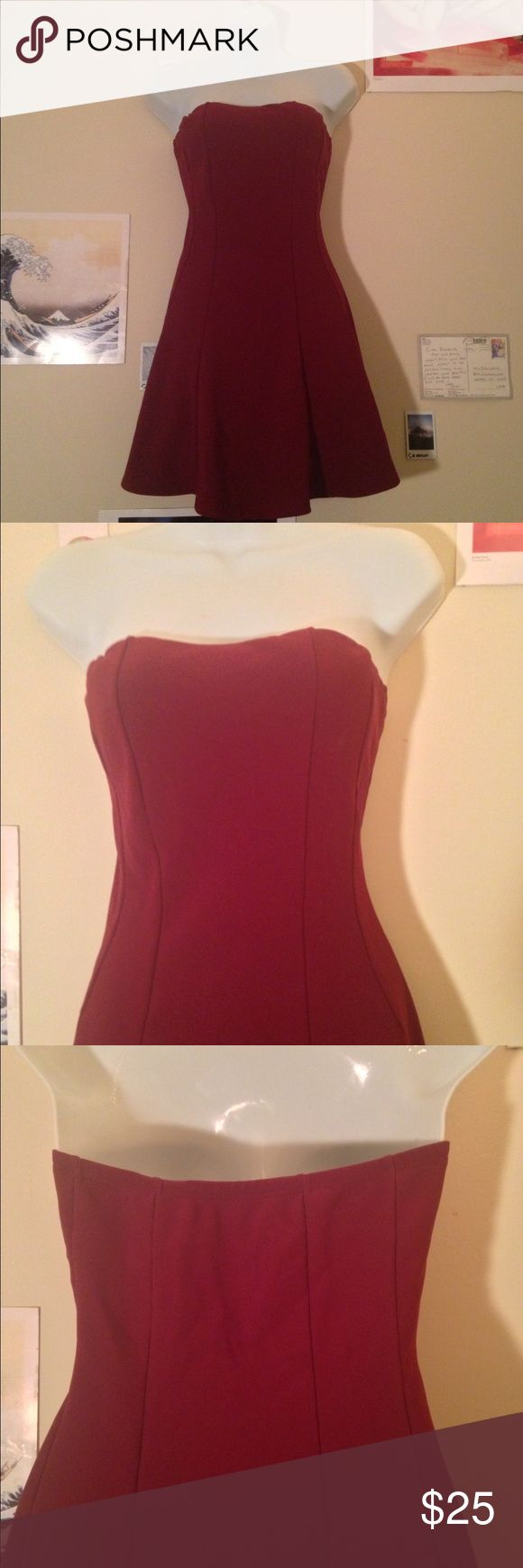 Strapless Body Central party dress! This burgundy dress is fitted in all the right places! Body Central Dresses Mini
